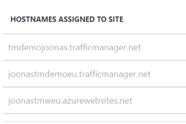 Main Traffic Manager domain name added
