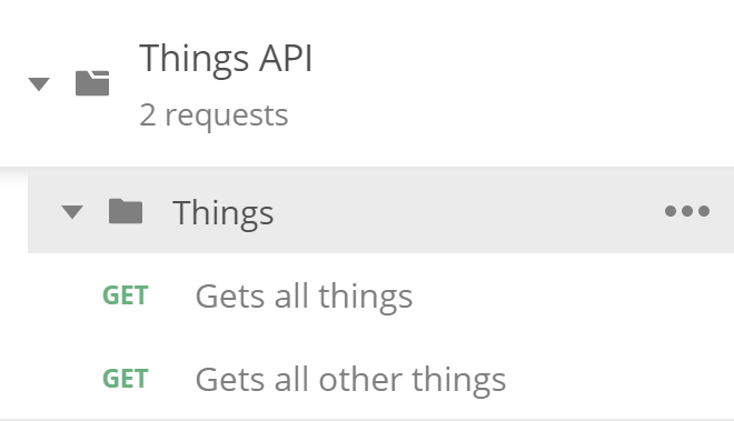 The two actions visible in a Things API collection