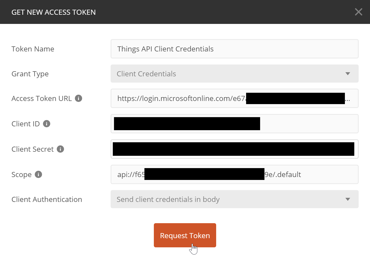 Values set to the fields for client credentials authentication