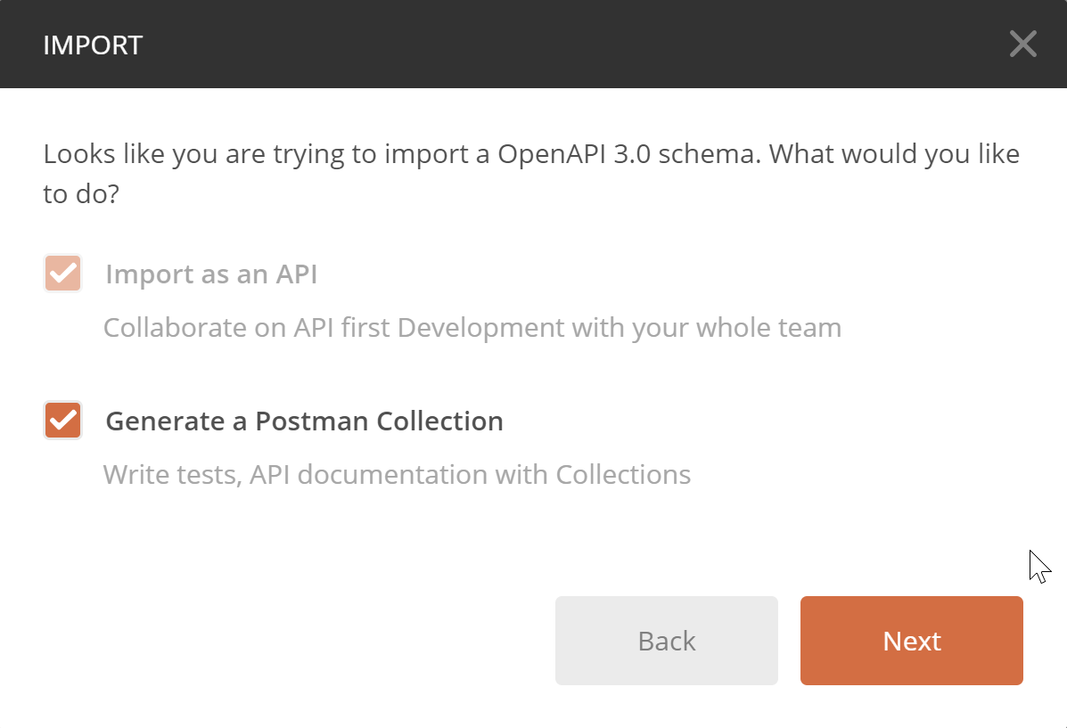 Option Import API selected and disabled, option to generate a collection selected