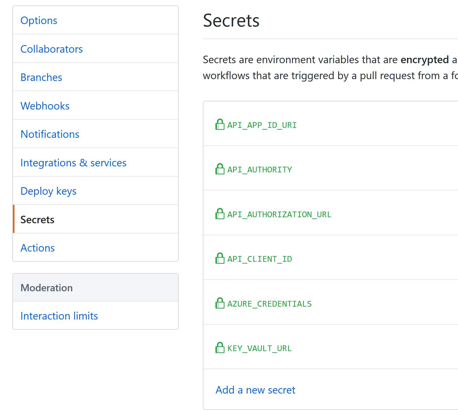 Secrets in GitHub repo settings