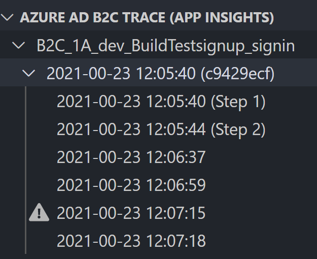 Example trace listed under Azure AD B2C Trace