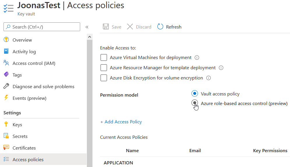 Permission model radio buttons on Access policies tab of Key Vault