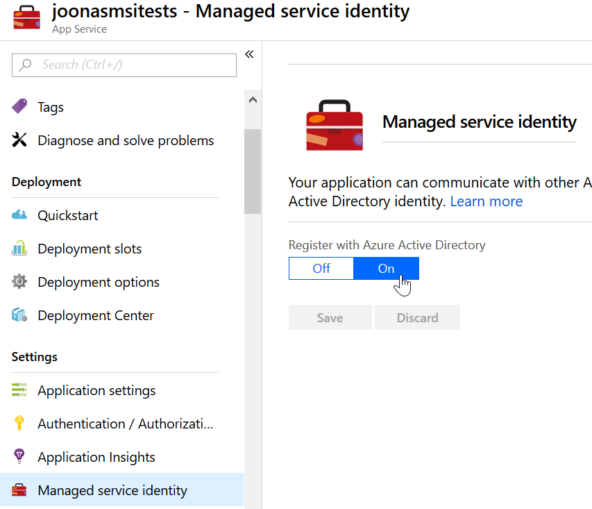 Enabling managed identity on Web App