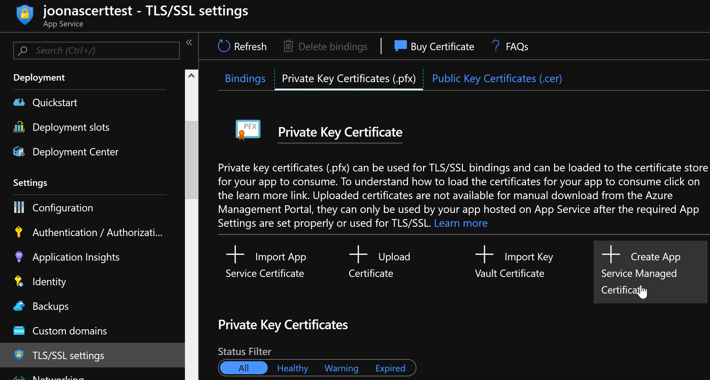 Find the Create App Service Managed Certificate button in TLS/SSL settings