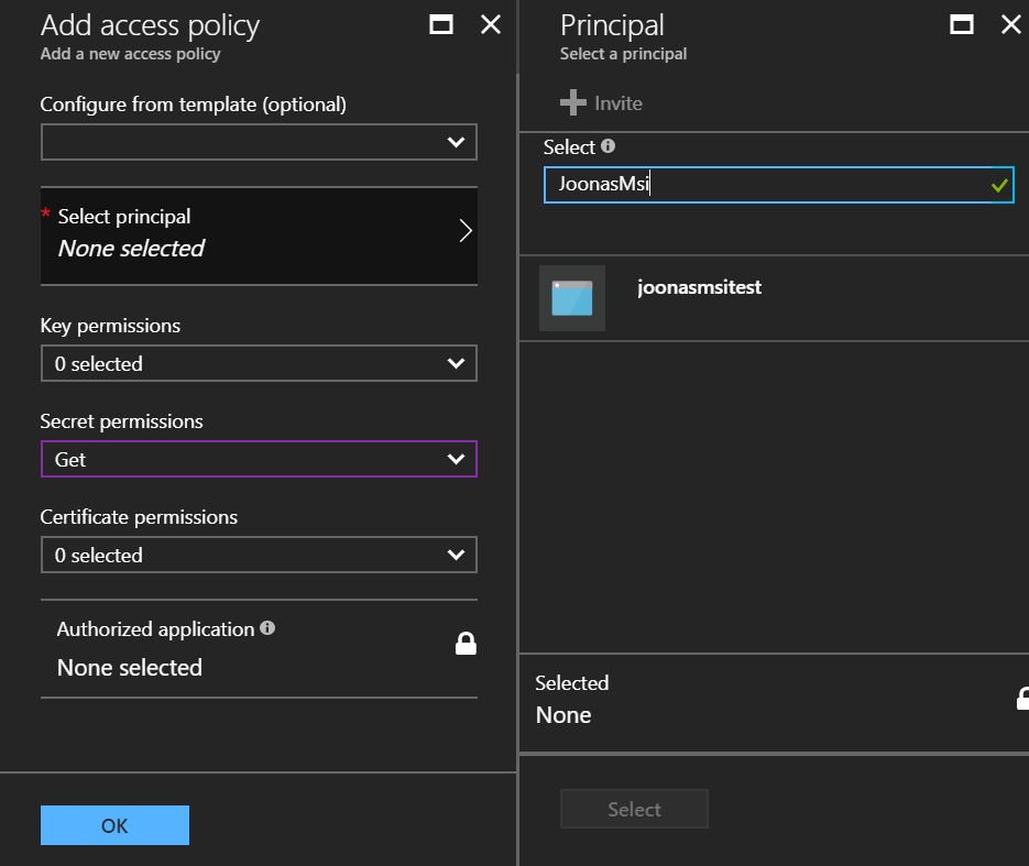 Defining permissions on Azure Key Vault