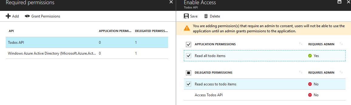 Defining permission scopes and roles offered by an app in