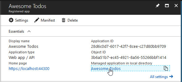 Managed application link