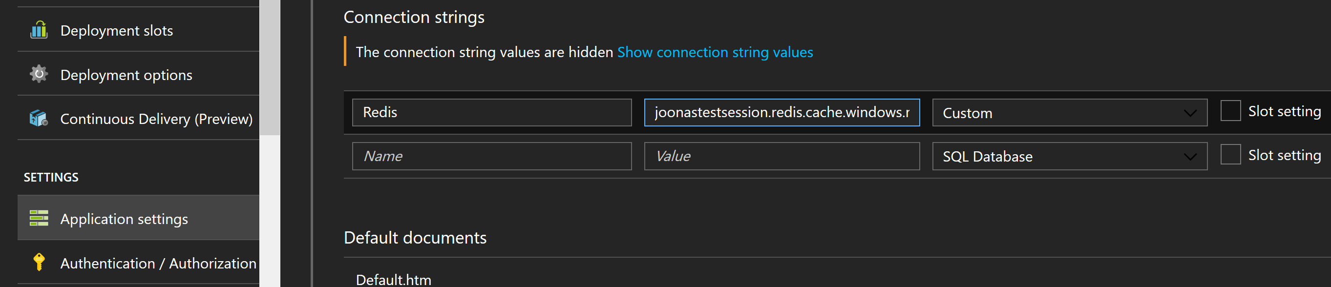 Connection string in Azure Web App configuration